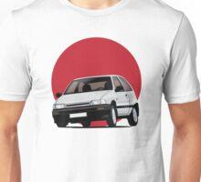 Daihatsu Charade GTti illustration, white with rising sun Unisex T-Shirt