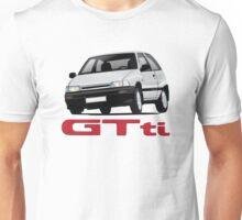 Daihatsu Charade GTti white/gray illustration with badge Unisex T-Shirt