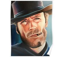 Portrait painting of Clint Eastwood Poster