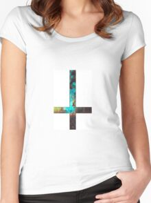 Green Galaxy Inverted Cross White Women's Fitted Scoop T-Shirt