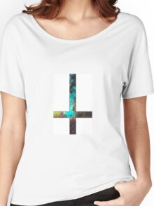 Green Galaxy Inverted Cross White Women's Relaxed Fit T-Shirt