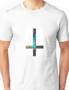 Green Galaxy Inverted Cross White Unisex T-Shirt