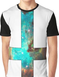 Green Galaxy Inverted Cross White Graphic T-Shirt
