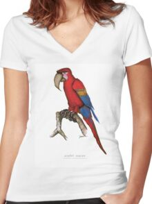 scarlet macaw, tony fernandes Women's Fitted V-Neck T-Shirt
