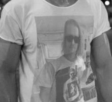 Ryan Gosling wearing a shirt of Macauley Culkin wearing a shirt of Ryan Gosling wearing a shirt of Macauley Culkin Sticker