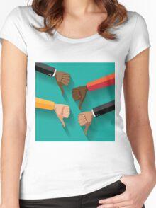 thumbs down, dislike flat design Women's Fitted Scoop T-Shirt