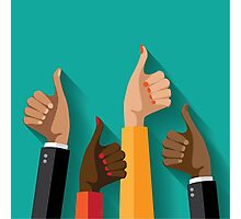 thumbs up flat design Photographic Print