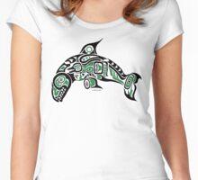 Haida Tlingit Killer Whale, Native American Orca - Green Women's Fitted Scoop T-Shirt