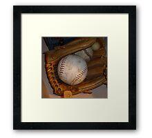Baseball Mitt and Ball Framed Print