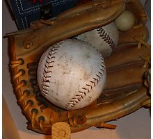 Baseball Mitt and Ball Photographic Print