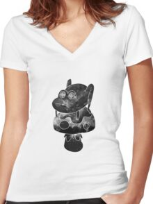 space frogger b&w Women's Fitted V-Neck T-Shirt
