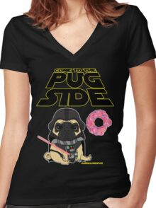 Come to the Pug Side Women's Fitted V-Neck T-Shirt