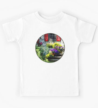 Flowers and Red Shutters Kids Tee