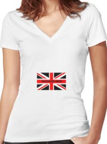 Manchester United red white an black Women's Fitted V-Neck T-Shirt