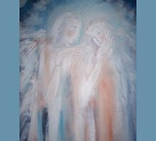 An angels wedding (throw pillow on blue) by catherine walker