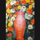 orange jug of flowers (throw pillow on black) by catherine walker