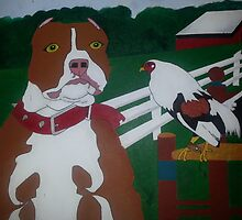 Red Pitbull and Rooster  by Migo713