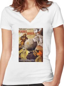 French Vintage Poster Restored Women's Fitted V-Neck T-Shirt