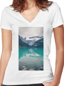 Landscape Mountain Women's Fitted V-Neck T-Shirt