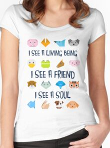 Animals in Origamy Style  Women's Fitted Scoop T-Shirt