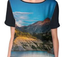 Early light on the mountains and the water - panorama Chiffon Top