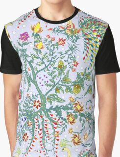 Fairy floral seamless pattern with beautiful birds and tree on white Graphic T-Shirt