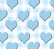 Blue Gingham lovehearts (Digital composition) wallpaper by funkyworm