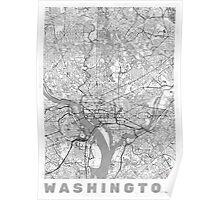 Washington Map Line Poster