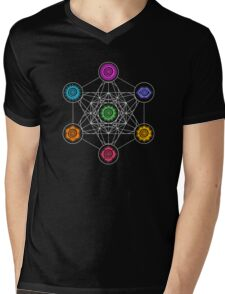 Metatrons Cube, Chakras - Cosmic Energy Centers Mens V-Neck T-Shirt