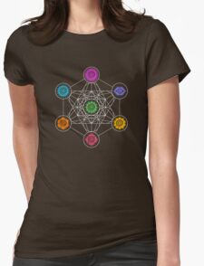 Metatrons Cube, Chakras - Cosmic Energy Centers Womens Fitted T-Shirt