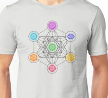 Metatrons Cube, Chakras - Cosmic Energy Centers Unisex T-Shirt