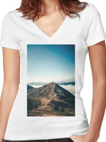 Mountains in the background XXII Women's Fitted V-Neck T-Shirt