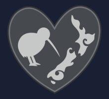 KIWI bird heart with New Zealand map Kids Clothes