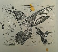 Black Ink Humming Birds on Petal Paper by CarmenH