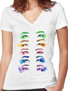 Red Velvet KPOP Eyes Watercolour Women's Fitted V-Neck T-Shirt