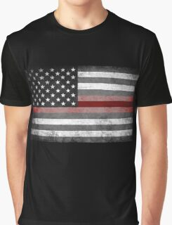 The Thin Red Line - American Firefighter Graphic T-Shirt