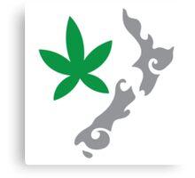 New Zealand kiwi map with green leaf Canvas Print