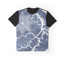 Moon vintage blue grey white Graphic T-Shirt