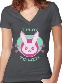 D Bunny Women's Fitted V-Neck T-Shirt