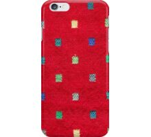 red fabric background with colorful pattern  iPhone Case/Skin