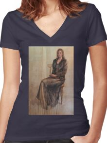 Abbie and the duckling. Women's Fitted V-Neck T-Shirt