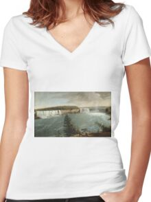 John Vanderlyn - A Distant View Of The Falls Of Niagara. Lake landscape: trees, river, land, forest, coast seaside, waves and beach, marine, lagoon sun and clouds, nautical panorama, lake Women's Fitted V-Neck T-Shirt