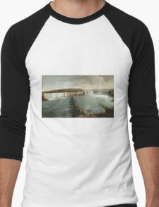 John Vanderlyn - A Distant View Of The Falls Of Niagara. Lake landscape: trees, river, land, forest, coast seaside, waves and beach, marine, lagoon sun and clouds, nautical panorama, lake Men's Baseball ¾ T-Shirt
