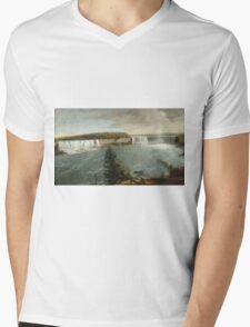 John Vanderlyn - A Distant View Of The Falls Of Niagara. Lake landscape: trees, river, land, forest, coast seaside, waves and beach, marine, lagoon sun and clouds, nautical panorama, lake Mens V-Neck T-Shirt