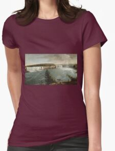 John Vanderlyn - A Distant View Of The Falls Of Niagara. Lake landscape: trees, river, land, forest, coast seaside, waves and beach, marine, lagoon sun and clouds, nautical panorama, lake Womens Fitted T-Shirt