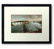 John Vanderlyn - A Distant View Of The Falls Of Niagara. Lake landscape: trees, river, land, forest, coast seaside, waves and beach, marine, lagoon sun and clouds, nautical panorama, lake Framed Print