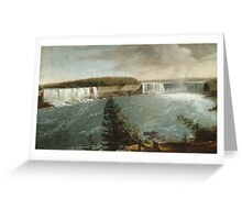 John Vanderlyn - A Distant View Of The Falls Of Niagara. Lake landscape: trees, river, land, forest, coast seaside, waves and beach, marine, lagoon sun and clouds, nautical panorama, lake Greeting Card