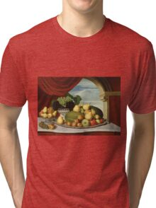 John Vanderlyn - Still Life Fruit In A Classical Setting 1858. Still life with fruits and vegetables: fruit, vegetable, grapes, tasty, gastronomy food, flowers, dish, cooking, kitchen, vase Tri-blend T-Shirt