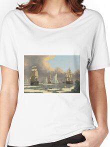 John Ward I - The Northern Whale Fishery The Swan And Isabella . Marine landscape: ship portraits, yachts, yachting ship, waves, marine naval navy, seascape, sun and clouds, nautical panorama, ocean Women's Relaxed Fit T-Shirt