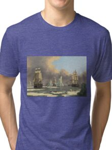 John Ward I - The Northern Whale Fishery The Swan And Isabella . Marine landscape: ship portraits, yachts, yachting ship, waves, marine naval navy, seascape, sun and clouds, nautical panorama, ocean Tri-blend T-Shirt